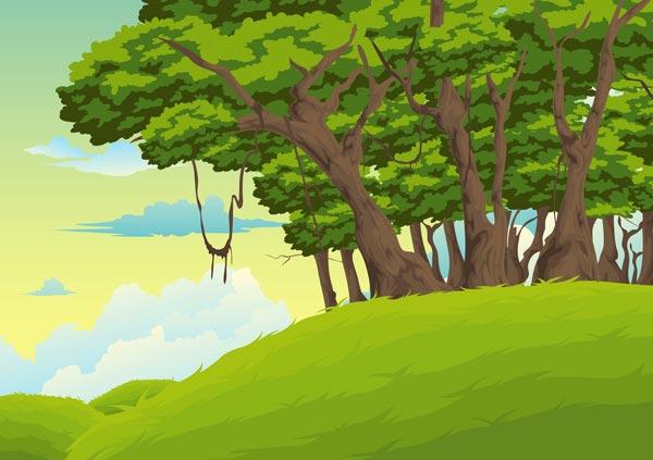 forest landscapes vector illustrations