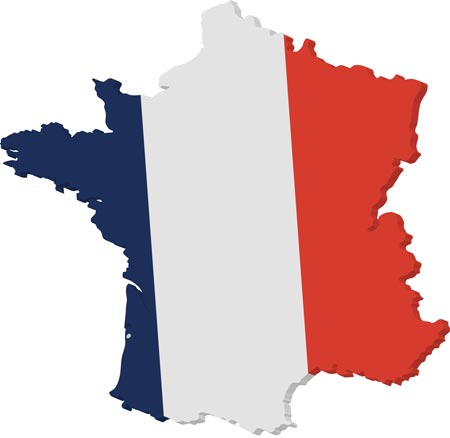 France vector map and flag