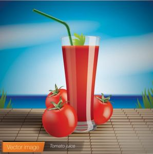Freshly squeezed fruit and vegetable juices vectors