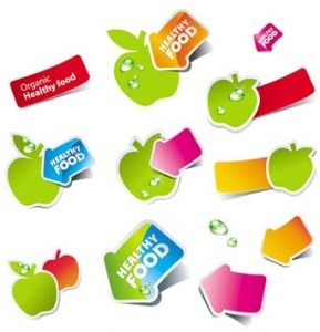 Fruits and vegetables vector sticker