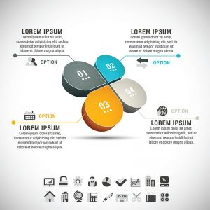 Geometric infographics shapes vector