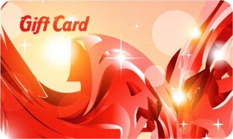 Red gift card vector template