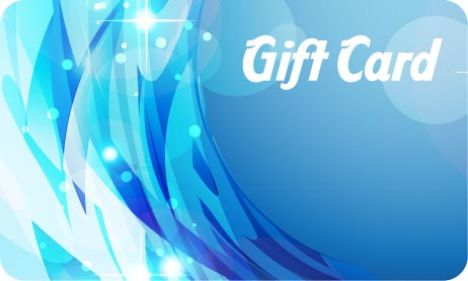 Blue gift card vector template