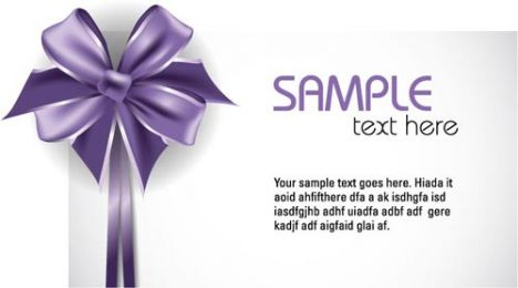 Gift cards with purple bows vectors