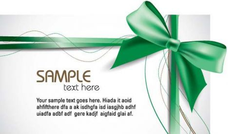 Gift cards with green bows vectors
