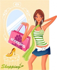 Girl at shopping vector