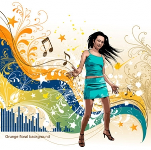 Girls and music vector