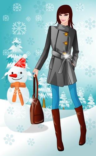 5630c375e976 Girls in the winter vectors