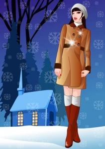 Girls in the winter vector