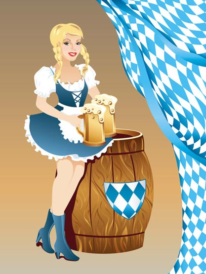 Girls Serving Beer At Oktoberfest Event Vectors