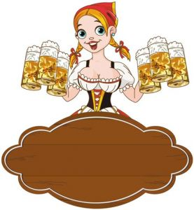 Girl serving beer at Oktoberfest event vector