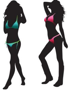 Girl shape in bikini template
