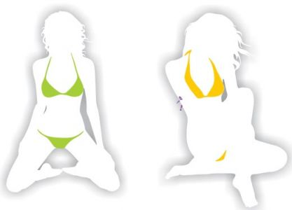 Girl shape in bikini design