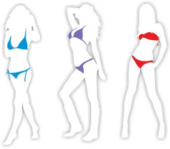 Girl shape in bikini vector