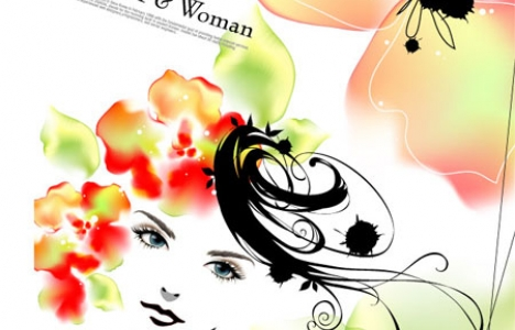 Girls with flowers vectors