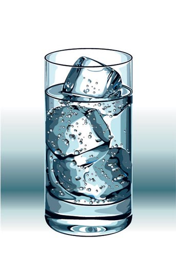 Glass Ice Cubes And Bottles Shapes Vector