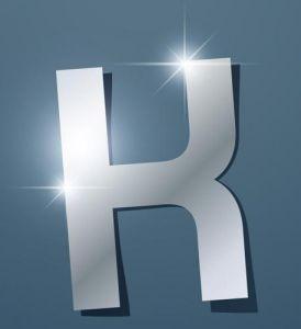 Glossy K letter vector