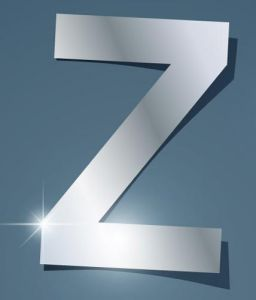 Glossy Z letter vector