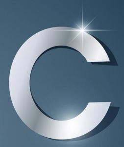Glossy C letter vector