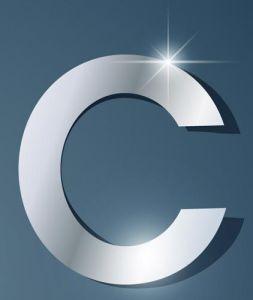 Glossy C letter vector