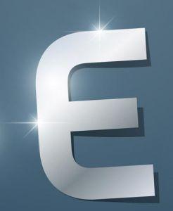 Glossy E letter vector