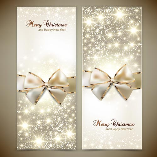Beautiful and shiny golden vector ribbons with gold and silver