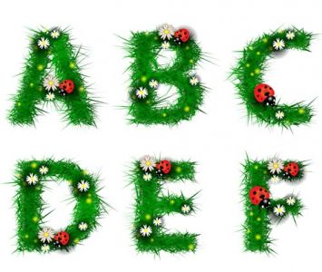 Grass alphabet letters vector