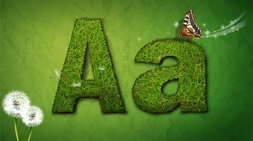 grass letters vectors