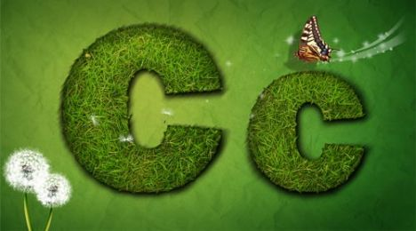 Creative grass letter C vector