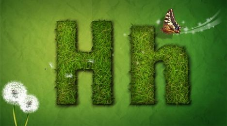 Creative grass letter H vector