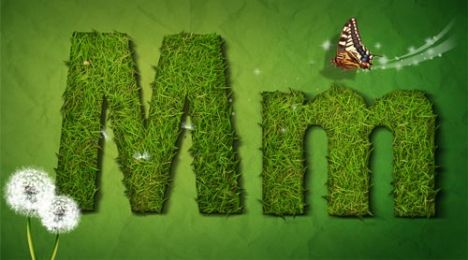 Creative grass letter M vector