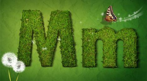 Creative grass letter M vector