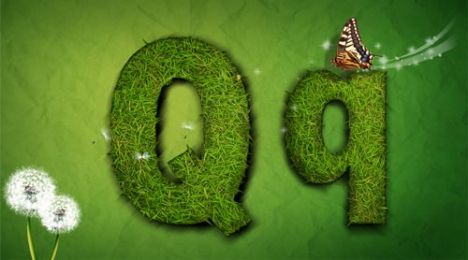 Creative grass letter Q vector