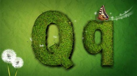 Creative grass letter Q vector