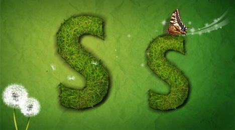 Creative grass letter S vector