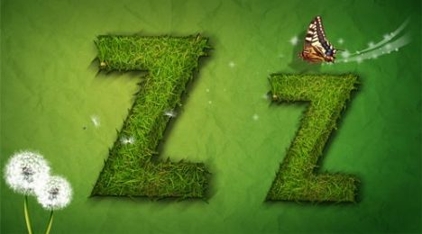 Creative grass letter Z vector