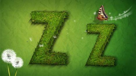 Creative grass letter Z vector