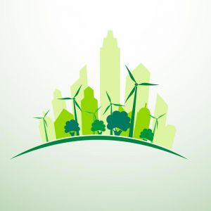 Green city concept logo vector