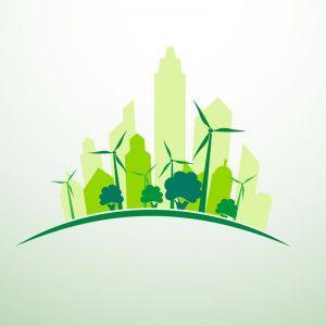 Green city concept logo vector