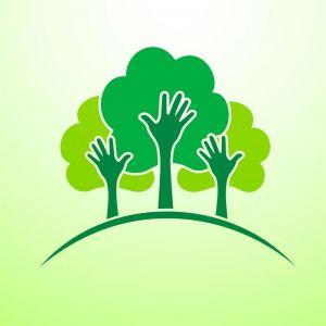 hand tree concept logo vector