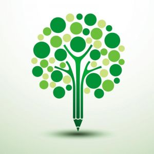 Pencil tree concept logo vector