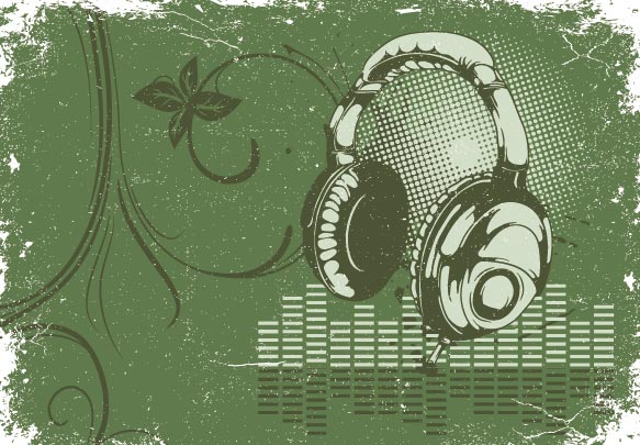 Headphones and microphone on grunge eps texture