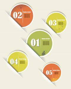 Grunge round stickers vector