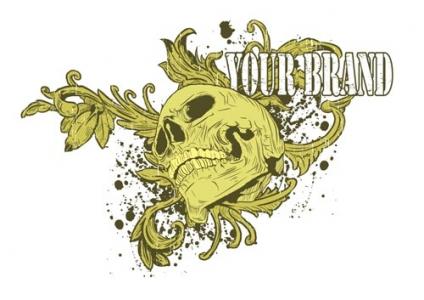 Grunge t-shirt skull vector