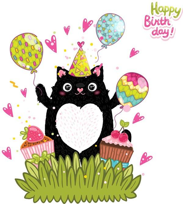 Happy Birthday Postcards Vectors