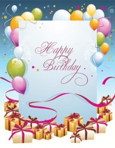 Happy birthday vector postcard