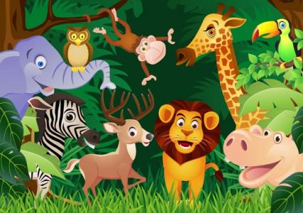 Happy zoo animals vectors