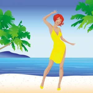 Hot beach girl vector