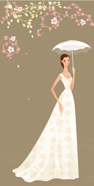 illustration wedding bride card vector