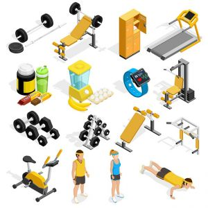 Gym And Fitness Isometric Icons Set ,Gym And Fitness Isometric Icons Set